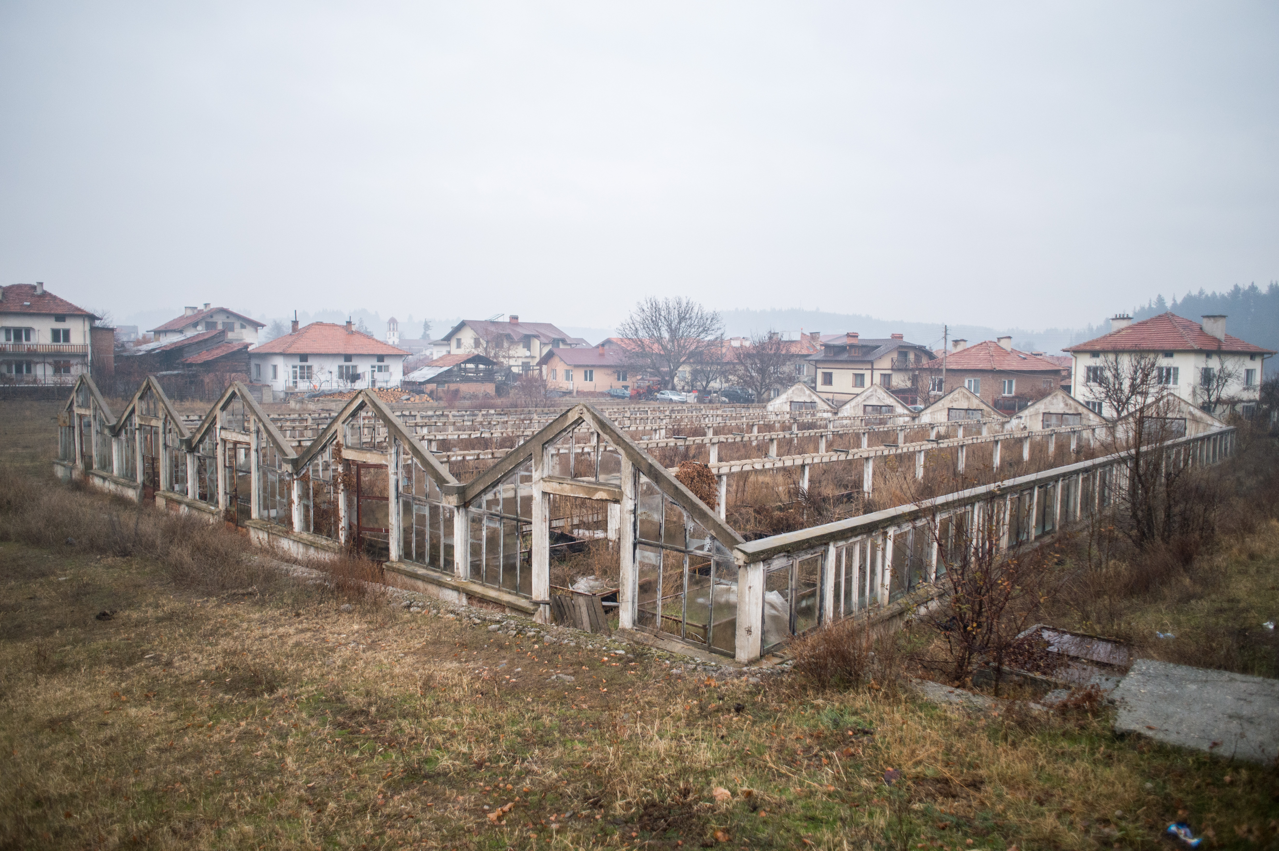 A general view of abandoned mineral water greenhouses in the village of Banya on December 4, 2020. NIKOLAY DOYCHINOV for AufRuhr